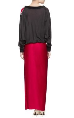Red sweatshirt & dhoti skirt
