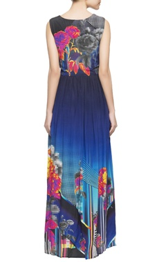 Dark blue printed maxi dress