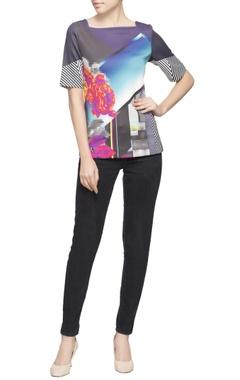Multi colored printed top