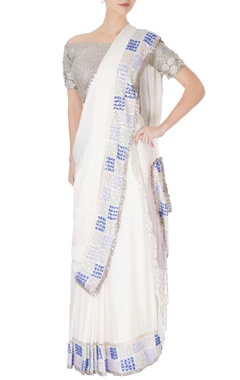 Manish Malhotra White sari in silver sequin work