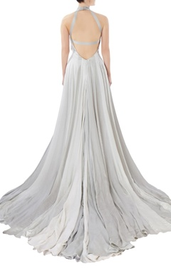 grey halter tassel work gown