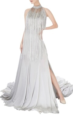 Manish Malhotra Grey halter tassel work gown