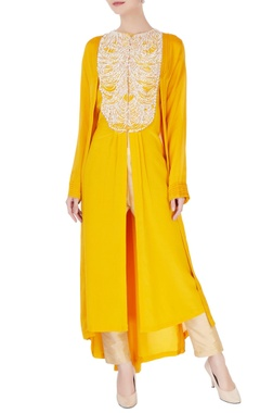 Manish Malhotra Yellow front open kurta