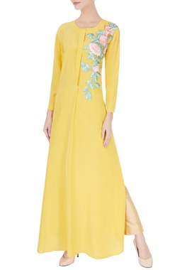 Manish Malhotra Yellow resham embroidered kurta