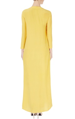 Yellow resham embroidered kurta