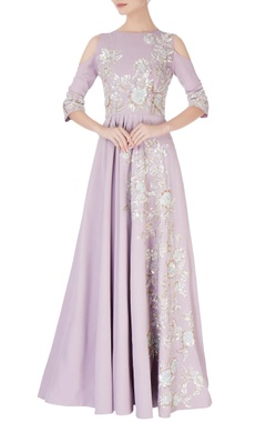 Manish Malhotra Lavender cold-shoulder sequin anarkali