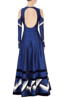 Blue cold shoulder anarkali