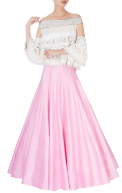 pink flared lehenga & sequin blouse