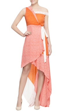 Pink & orange wrap style dress