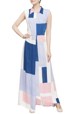 Multicolored color block dress