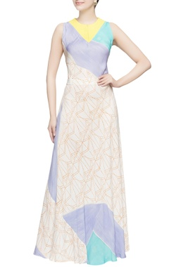 Multicolored sleeveless flared gown