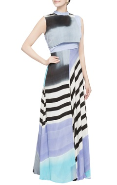 Multicolored silk hand painted gown