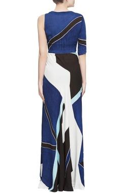 Blue color block silk gown