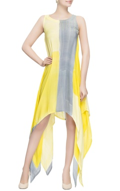 Yellow & grey draped style dress