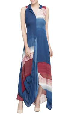 Blue brush painted silk dress