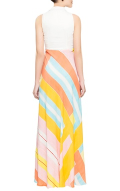 Multicolored brush painted gown
