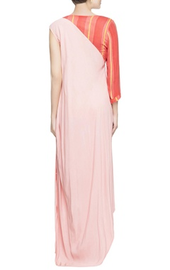Pink & peach gown with drape style