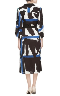 Blue & black midi dress with belt