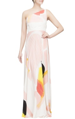 Multicolored one shoulder party gown