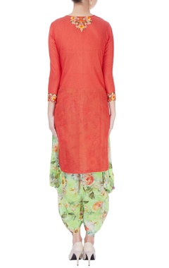 Red embroidered kurta & floral pants