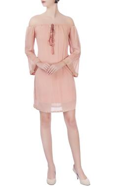 peach off-shoulder short dress