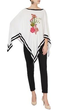 White embroidered asymmetric cape