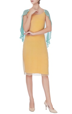 Yellow layered chiffon dress