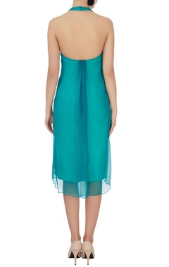 Sea green halter neck dress
