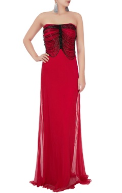Red flowy gown with bead layer