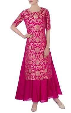 hot pink brocade style kurta set