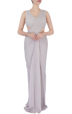 Grey bead embellished sari gown