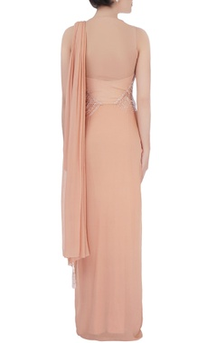Peach sequin embellished sari gown