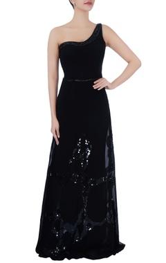 Black sequin one shoulder gown