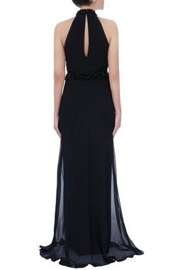 Black sequin halter neck gown