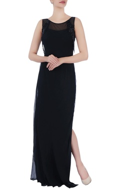 Black sequin slit gown