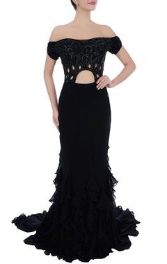 Black off shoulder sequin gown