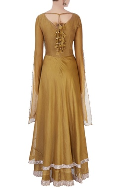Dark green anarkali with elbow slit sleeves