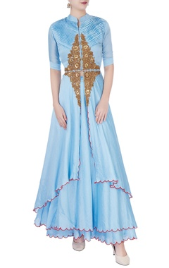 Sky blue anarkali in floral embellishments