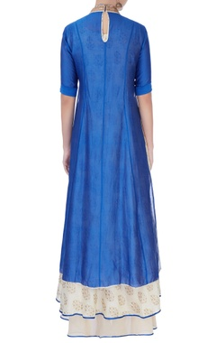 Blue kurta & printed anarkali