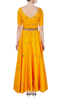Orange anarkali with embellished belt