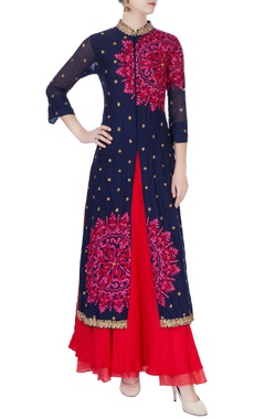 Blue applique work kurta
