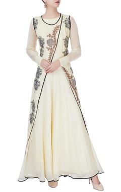 Ivory anarkali with wrap layer