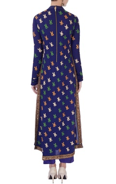 Navy blue high collar kurta set