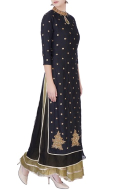 Blue & black sequin embellished kurta