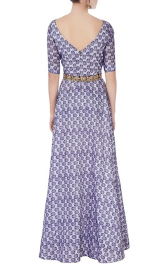 Blue printed anarkali with sequin belt