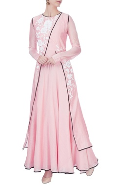 Pink anarkali with wrap jacket
