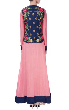 Pink anarkali with floral jacket