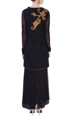 Black sequin embroidered kurta