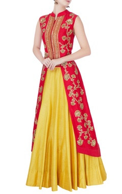 Red high low kurta & lehenga