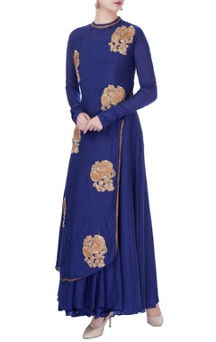 Blue sequin embellished kurta